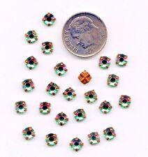 24 Swarovski Crystal Celadon Antiqued Brass Sew On Settings 20ss Rose Montees