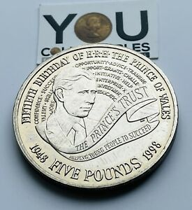 1998 £5 Five Pound Coin - 1998 - 50th birthday of HRH Prince of Wales FREE POST