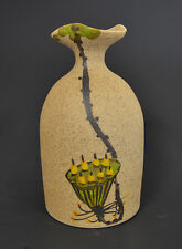 """Hand Made & Hand Painted Pottery Vase 5 3/4"""" H x 3 1/4"""" W Very Nice Long Neck"""