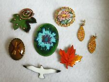 Vintage Jewelry Lot Enamel Brooch Pin Earrings Leaf Bird  (576B)
