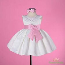 Ivory With Pink Wedding Flower Girl Flowergirl Party Dress Size 1 FG109