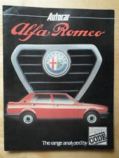 ALFA ROMEO Autocar Range Analysis 1980 UK Market Brochure - 6 Sprint GTV