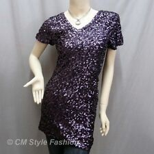 Glittering Sequin Bling Bling Paillette Embellished Tunic Mini Dress Purple S~M