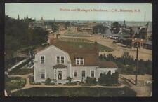 Postcard MONCTON New Brunswick/CANADA  ICR Railroad Depot Manager's House 1907