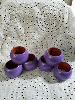 Vintage Napkin Rings Round Circle Purple Wood Set of 6 Made in India Look Modern