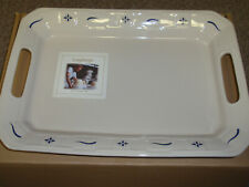 """Longaberger Pottery Wt """"Handled Platter"""" Classic Blue. New In Box!"""