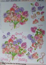 Craft Creations Sweet Peas Die-cut 3d Decoupage Kit DCD666