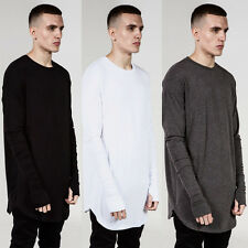 Men's Hipster Hip Hop Pullover Longline Long Sleeve Shirts Basic Tee Tops Blouse