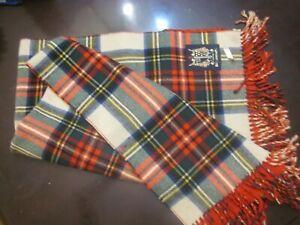 Plaid Scottish Design Baby 100 %Wool Blanket with fringes