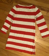 9a3dbe71a49 J Crew Womens Stripes White Coral Long Sleeve Cotton Sweater Dress Size  Small