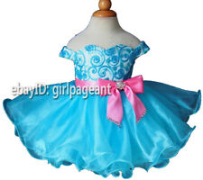 Infant/toddler/kids/baby Blue Sequins lace Pageant Dress 9~12 Months EB1217-1