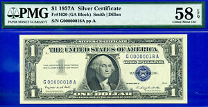 Two Digit S/N 18 - 1957-A $1 S/C (( Low Serial # 00000018 )) PMG 58EPQ # G18A-