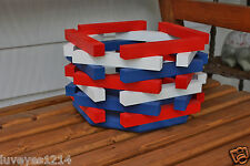 Red White Blue 4th of July Hexagon Octagon wooden bucket Table-step planter