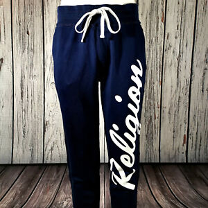 Men's True Religion Sweatpants Navy Blue White Cotton Joggers Track Pants Large