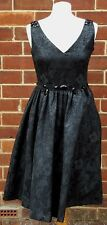 DEBENHAMS Ben de Lisi Floral Black Strappy Summer Dress Gem Detail UK 10