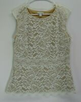 NY&C New York Company Stretch Women M Summer Sleeveless Floral Lace Blouse Top