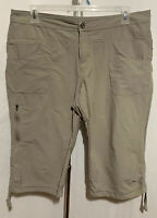 Cabela's Size 16 Tan Khaki Stretch Capri 5 Pocket Drawstring Hem Cropped Pants