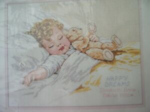 BUCILLA COUNTED CROSS-STITCH 40744 EMBROIDERY KIT DDCC HAPPY DREAMS BABY TEDDY