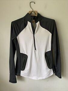UNDER ARMOUR Womens Shirt Running Medium ColdGear White Gray Reactor 1/2 Zip