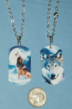 """Wolf Pack Necklace Leader Dogs Double Sided Laser Pictures Wolves 21"""" Chain New!"""
