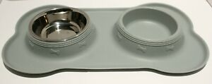 Dog Cat Water Bowl Food Dish w/Nonslip Silicone Placemat *One Bowl*