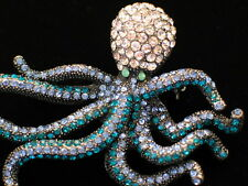 BLUE TEAL RHINESTONE SEA CREATURE LIFE OCTOPI OCTOPUS PIN BROOCH JEWELRY 2.75""