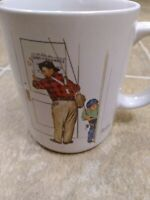 Coffee cup Closed for Business by Norman Rockwell 1987 Coffee Mug Cup Fishing