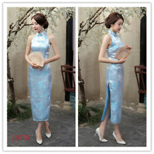 Chinese Sexy Long Cheongsam Women Silk Satin Maxi Dress Ball Gown S-3XL