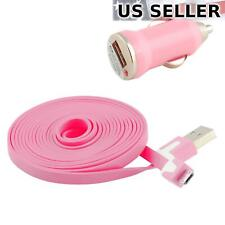 Car Charger with 6FT/2M Flat Micro-USB Cable for Samsung Nokia HTC LG, Pink