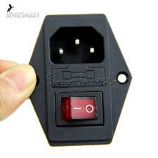 NEW Black Red AC 250V 10A 3 Terminal Power Socket with Fuse Holder