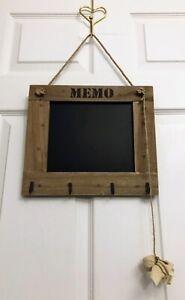 Hanging Wooden Memo Chalk Board Blackboard with Hooks