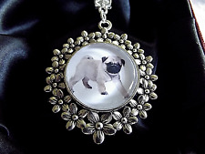 PUG DOG PUPPY PHOTO FLOWER PENDANT 22 INCH SILVER PLATED CHAIN GIFT BOX BIRTHDAY