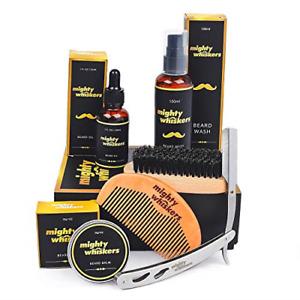 Mighty Whiskers Beard Grooming Kit, Set of 6 Beard Comb, Beard Brush, Beard Oil,