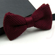 Men Fashion Crochet Solid Color Winter Bowtie Woven knitted Adjustable Bow Tie