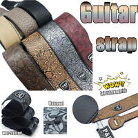 Adjustable Leather Thick Guitar Strap Embossed for Acoustic Electric Bass Guitar