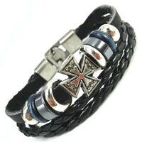 Lederrarmband Armband Leder Surfer Malteser Kreuz Herren Biker Rocker Armreif