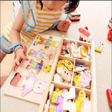 Wooden Baby Kids Bear Changing Clothes Puzzle Set Children Educational Xmas Gift