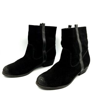 Kenji Womens Size 41/10 Black Suede Leather Pull On Low Block Heel Boots