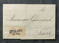 1865 Spalato Austria Letter Cover to Trieste Austria with Wax Seal