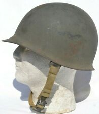 US M1 HELMET US ARMY TAN KHAKI CHINSTRAP ALL ORIGINAL FACTORY CAMO GREEN PAINT