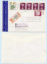 Germany c1983 Registered Airmail Cover to US  TV Camera Railroad Train #1180 x4