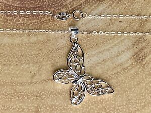 925 Sterling Silver Jewellery Link Chain Necklace Elegant Butterfly Pendant UK