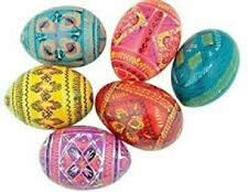 Wooden Easter Eggs Ukranian Pysanky Religious Decoration Hand Painted Wood Folk