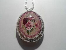 STERLING SILVER PLATED VICTORIAN MAROON/PINK ROSE OVAL LOCKET NECKLACE 26""