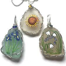 Blue Iris pendant, Sunflower with chain, Bluebells & snowdrops pendant