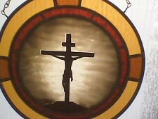 Jesus On The Cross,painted stained glass, Crucifixion of Jesus, home decor
