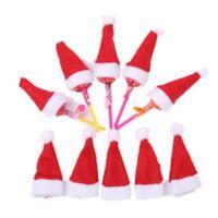 10 x Tiny Novelty Santa Hats. Christmas Xmas Table Decoration Bottle Topper Tree