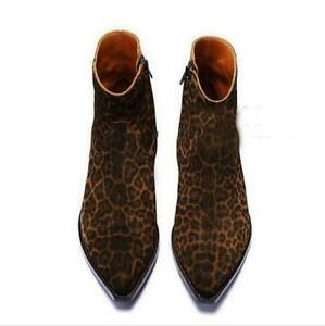 Mens Suede High Top Ankle Boots Leather Vintage Pointy Toe Heels Chelsea Boots @