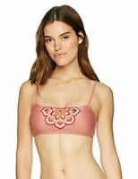 Mae Women's Swimwear Molly Pink W/ Floral Applique Bikini Top Size Large 12/14