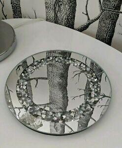 Crystal Candle Plate Centrepiece Mirrored Round Decretive Diamante Glass Coaster